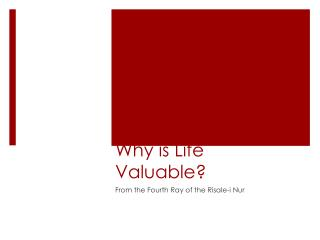 Why is Life Valuable?