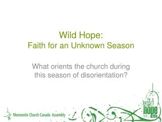 Wild Hope:  Faith for an Unknown Season
