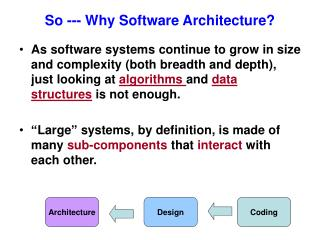So --- Why Software Architecture?