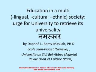 नमस्कार b y Daphné L.  Romy- Masliah , PH D Ecole Jean-Piaget (Geneva) ,