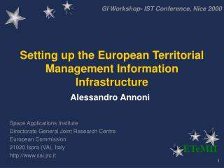 Setting up the European Territorial Management Information Infrastructure