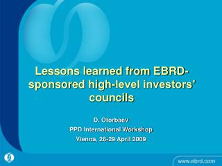Lessons learned from EBRD-sponsored high-level investors' councils