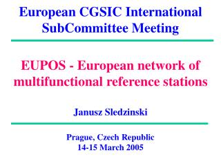 European CGSIC International SubCommittee Meeting