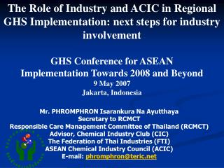 The Role of Industry and ACIC in Regional GHS Implementation: next steps for industry involvement