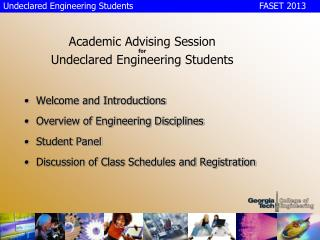 Academic Advising Session for Undeclared Engineering Students
