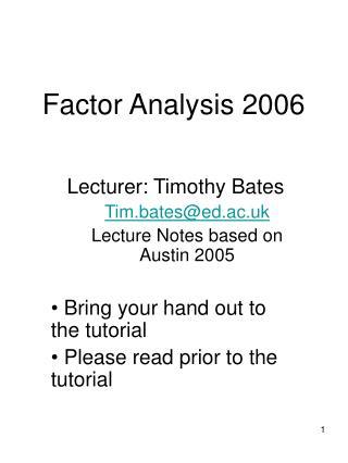 Factor Analysis 2006