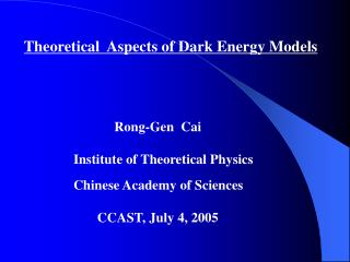 Theoretical  Aspects of Dark Energy Models
