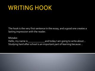 WRITING HOOK