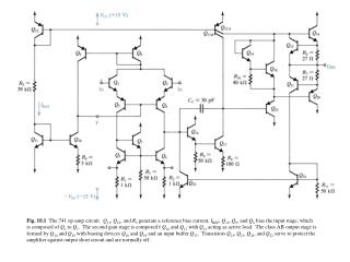 Fig.  10.3   The dc analysis of the 741 input stage.