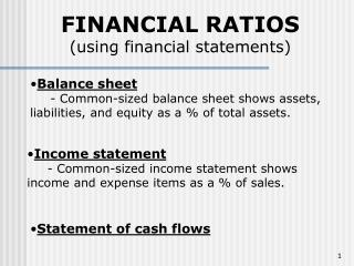 FINANCIAL RATIOS using financial statements