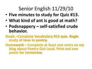 Senior English 11/29/10