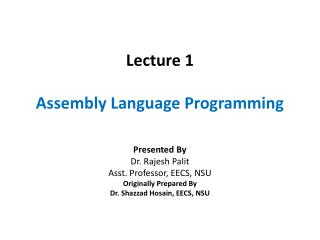 Lecture 1 Assembly Language Programming