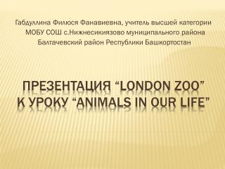 "Презентация  ""London ZOO""  к уроку  ""Animals in our life"""