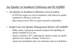 Air Quality in Southern California and SCAQMD