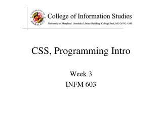 CSS, Programming Intro