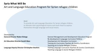 Syria What Will Be Art and Language Education Program for Syrian refugee children