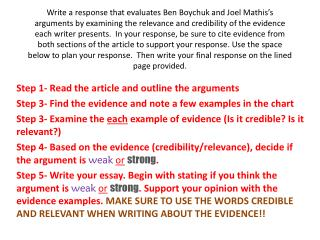 Step 1- Read the article and outline the arguments