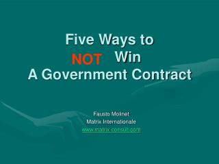 Five Ways to           Win  A Government Contract