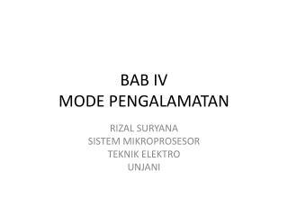 BAB IV MODE PENGALAMATAN