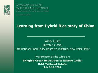 Learning from Hybrid Rice story of China