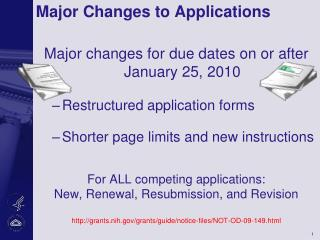 Major Changes to Applications