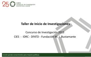 Taller de Inicio de Investigaciones