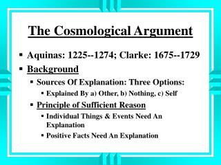 clarkes cosmological argument Full-text paper (pdf): cosmological argument | researchgate, the  likewise  employed by samuel clark in his cosmological argument (rowe.