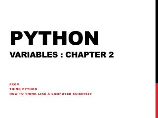 Python Variables : chapter 2