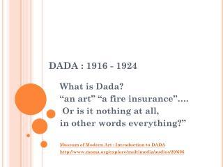 DADA : 1916 - 1924