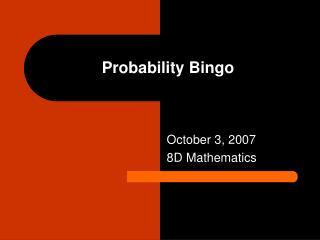 Probability Bingo