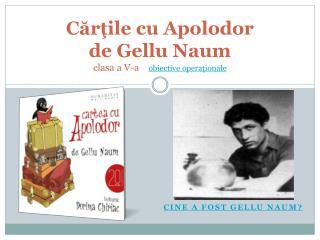 C ărţile cu Apolodor  de Gellu Naum clasa a V-a     obiective operaţionale