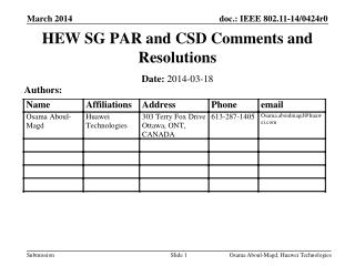 HEW SG PAR and CSD  Comments and Resolutions
