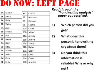 "Read through the  ""handwriting analysis""  paper you received.  Which person did you get?"