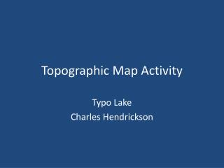 Topographic Map Activity
