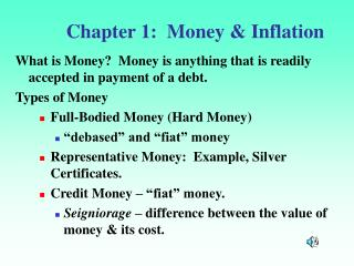 Chapter 1:  Money  Inflation