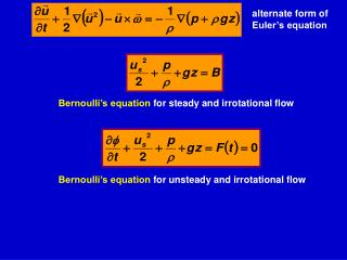 Bernoulli's equation  for unsteady and  irrotational  flow
