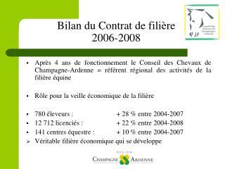 Bilan du Contrat de fili�re  2006-2008