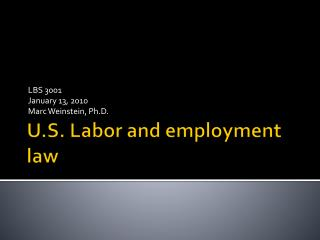 U.S. Labor and employment law