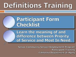 Definitions Training