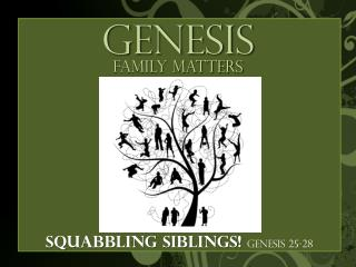 Squabbling siblings!  Genesis 25-28