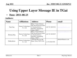 Using Upper Layer  Message IE in  TGai