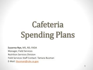 Cafeteria  Spending Plans