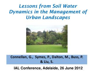 Lessons from Soil Water Dynamics in the Management of Urban Landscapes