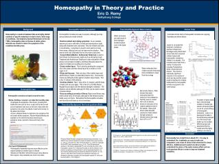 Homeopathy in Theory and Practice Eric D. Remy Gettysburg College