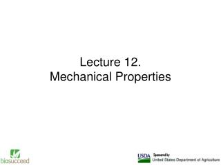 Lecture 12. Mechanical Properties