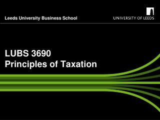 LUBS 3690 Principles of Taxation