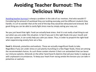 Avoiding Teacher Burnout- The Delicious Way