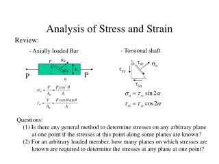 Analysis of Stress and Strain