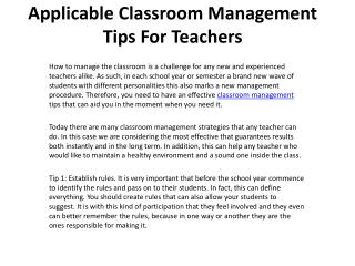 Applicable Classroom Management Tips For Teachers