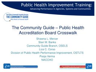 The  Community Guide  – Public  Health Accreditation Board  Crosswalk